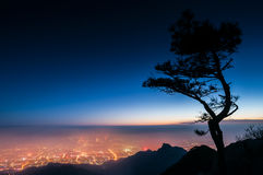 Night view of Tai`an city from the summit of Taishan, China Royalty Free Stock Photography