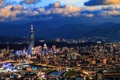 Night view of Taipei city with nice color, Taiwan stock image