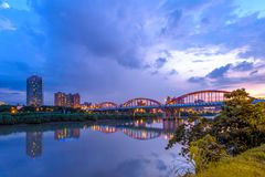 Night view of taipei by the river. Taipei City Guting Riverside Park - Zhongzheng and Yongfu Bridge at dusk in taipei city Stock Photography