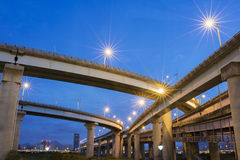 The night view of Taiwan highway. In Taipei stock photography