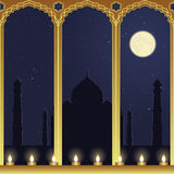 Night View of Taj Mahal. By candlelight Royalty Free Stock Images