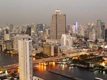 Night view of Taksin bridge Royalty Free Stock Images