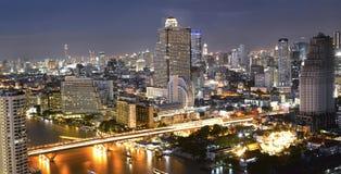Night view of Taksin bridge Stock Images