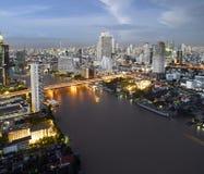 Night view of Taksin bridge Royalty Free Stock Photos