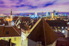 Night view of Tallinn, Estonia Royalty Free Stock Photos