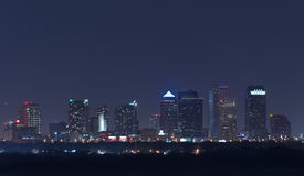 Night view of Tampa Florida skyline with lighted buildings Royalty Free Stock Photos