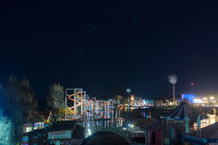 Night View Of Tampere 2. A nocturnal view of the Sarkanniemi fun park in the wintertime at Tampere, Finland royalty free stock photography
