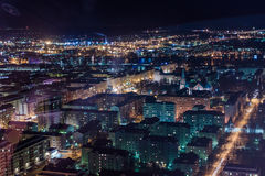 Night View Of Tampere 1. The town of Tampere in the night time seen from the Nasinneula view tower royalty free stock photo
