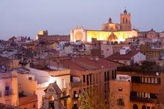 Night view of Tarragona Gothic Cathedral. Catalonia, Spain Stock Photos
