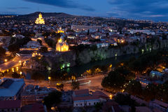 Night view of Tbilisi. Royalty Free Stock Images