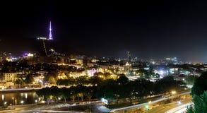 Night view of Tbilisi, capital of Georgia Royalty Free Stock Photos