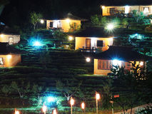 Night view of tea farm and hut at Ban Rak Thai village, a Chines Royalty Free Stock Images