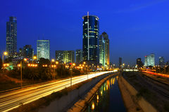 Night view on Tel Aviv. Royalty Free Stock Photography
