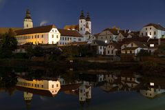 Night view of Telc or Teltsch town mirroring in pond Royalty Free Stock Images