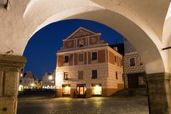 Night view of Telc or Teltsch town square Royalty Free Stock Image