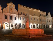 Night view of Telc or Teltsch town square Royalty Free Stock Images