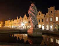 Night view of Telc or Teltsch town square Royalty Free Stock Photos