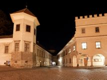 Night view of Telc or Teltsch town square. Czech republic. world heritage site by unesco Stock Photography