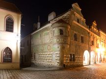 Night view of Telc or Teltsch town square. Czech republic. world heritage site by unesco Stock Photos