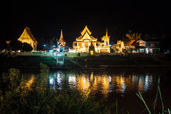 Night view of a temple in Ayutthaya Stock Photography