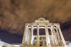 Night view of Temple of Diana in Merida. Closeup Stock Image