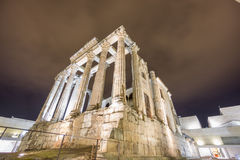 Night view of Temple of Diana in Merida, corner view Stock Photo
