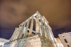 Night view of Temple of Diana in Merida, side view Royalty Free Stock Image