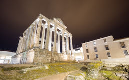 Night view of Temple of Diana in Merida, Spain Royalty Free Stock Images
