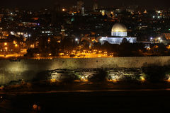 Night view of Temple Mount with Dome of the Rock and old city fr Stock Photography