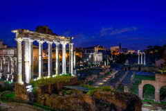 Night view of Temple of Saturn and Forum Romanum in Rome Royalty Free Stock Image