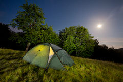 Night view with the tent Royalty Free Stock Photos