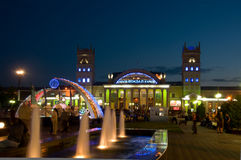 Night view of terminal South Station in Kharkov Stock Image