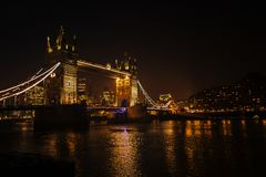 Night view of thames river and London tower bridge.  Stock Photography