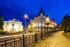 Night view on the theater and main post office in Bielsko-Biala, Poland royalty free stock photos