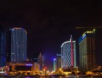 Night view of Tianfu Square in Chengdu stock photography
