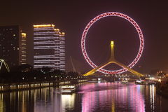 Night view of Tianjin eye ferris wheel Royalty Free Stock Photography