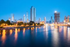 Night view of tianjin haihe river Royalty Free Stock Photos