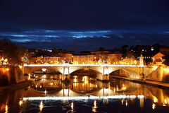 Night view of Tiber and bridge Vittorio Emanuelle II. Rome Royalty Free Stock Photo