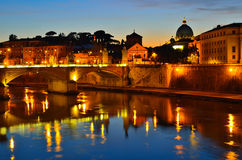 Night view on the on the Tiber River, Roma Stock Photo