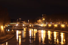 Night view of Tiber River Royalty Free Stock Images
