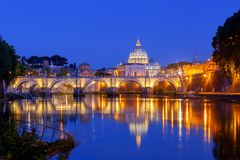 Rome. The Tiber River and Saint Peter`s Cathedral. Night view of the Tiber River and St. Peter`s Cathedral in the Vatican. Italy stock photos