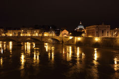 Night view of Tiber river Royalty Free Stock Photo