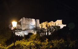 Night view to the Athens Acropolis, Greece stock image