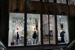 Night view to Banner fashion boutique in Sant'Andrea street decorated for Christmas shopping. Royalty Free Stock Photography