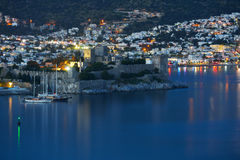 Night view to Bodrum castle Royalty Free Stock Images