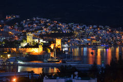 Night view to Bodrum castle Royalty Free Stock Photo