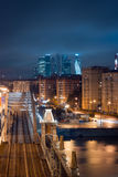 Night view to bridge and Moscow International Business Center Moscow-City Stock Photography