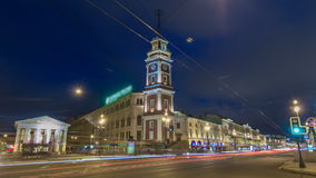 Night view to the City Duma tower at Nevsky avenue timelapse hyperlapse. ST. PETERSBURG, RUSSIA stock video footage