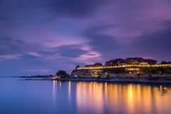 Night view to the coastal city at summer Royalty Free Stock Photography