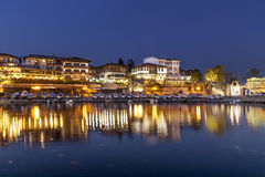 Night view to the costal city. Night in old town of Nessebar stock photos